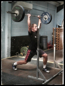James doing split jerk